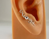 Sterling Ear Sweeps Ear Cuffs Earrings Round Sterling Beads Handmade