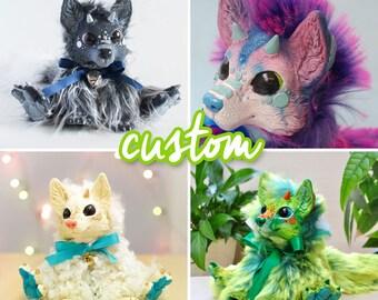 CUSTOM Dragon fox plush doll - Fluffy, Squishy, Cuddly, Adorable
