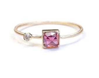 Rose Cut Ring, Rose Cut Garnet Diamond Ring, Garnet Ring, Gold Garnet Ring, Asymmetrical Ring, Rhodolite Garnet Ring, Cushion Cut, Nixin