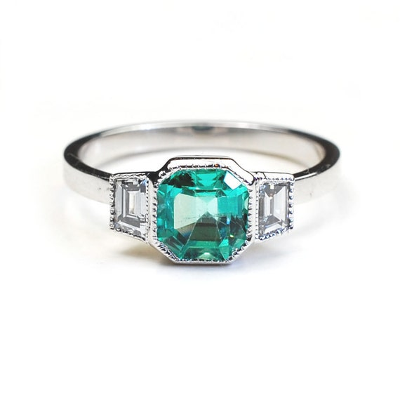 Art Deco Ring Emerald Ring Diamond Rings Engagement Ring