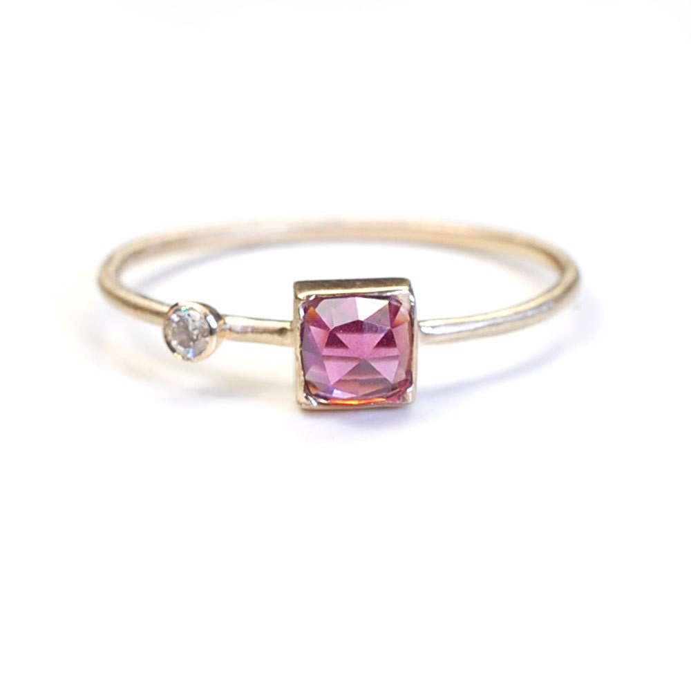 garnet diamond ring garnet wedding rings Rose Cut Ring Rose Cut Garnet Diamond Ring Garnet Ring Gold Garnet Ring Asymmetrical Ring Rhodolite Garnet Ring Cushion Cut Nixin