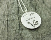 Actual Handwriting Memorial Pendant