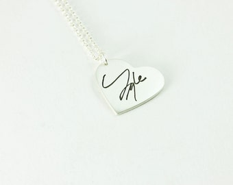 Actual Handwriting Heart Shaped Memorial Pendant