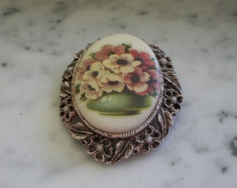 Bowl of Flowers Pin Pendant