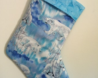 Polar Bear Christmas Stocking can be personalized