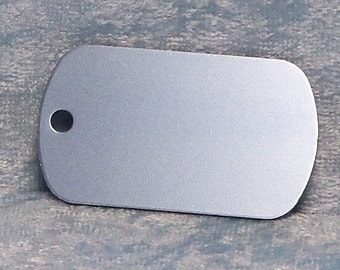 Tag, light blue anodized aluminum, military style, FREE custom engraving