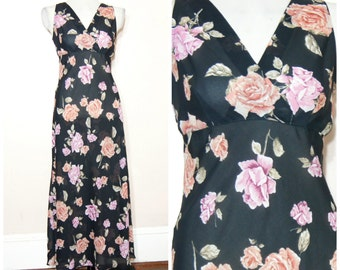 90s Black Floral Maxi Dress Medium Semi Sheer Grunge Pastel Goth