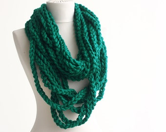 Black Friday Cyber Monday Teal green crochet infinity scarf  necklace fashion scarf loop scarf christmas gift for her mothers gift winter