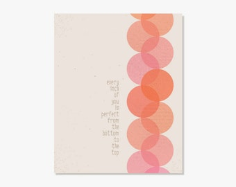 Typographic Print: All About That Bass Meghan Trainor // Every Inch Of You Is Perfect //  Pink Orange Mod Wall Art