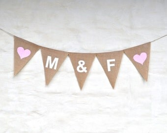 YOUR INITIALS  Valentine Hessian Burlap Custom Photo Prop Celebration Wedding Engagement Party Banner Bunting Decoration Baby Shower
