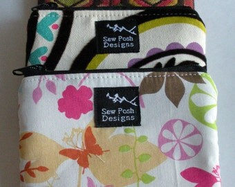 DESIGN YOUR OWN Fabric Coin Zipper Pouch Wallet Small Purse Case Washable Key Fob
