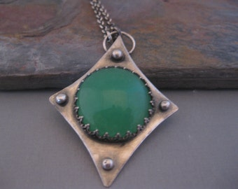 Green Agate Handmade Necklace Long Sterling Silver Chain