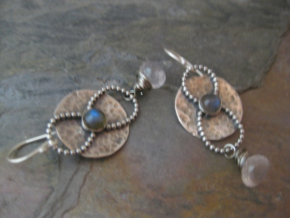 Round Sterling Silver Disk with Labradorite and Rose Quartz