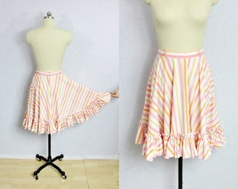 Vintage Pink striped circle skirt