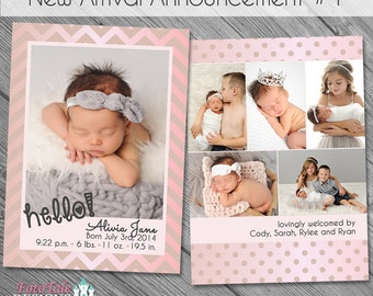 INSTANT DOWNLOAD - New Arrival Birth Announcement 1- double-sided 5x7 templates for photographers on WHCC and Millers Lab specs