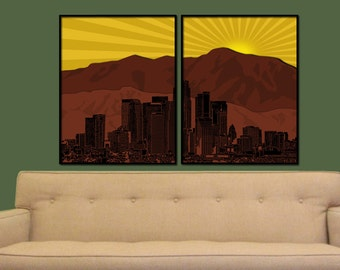 City of Angels Split Digital City Wall Art