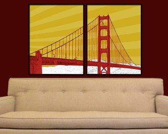 San Francisco Golden Gate Bridge Split Digital City Wall Art