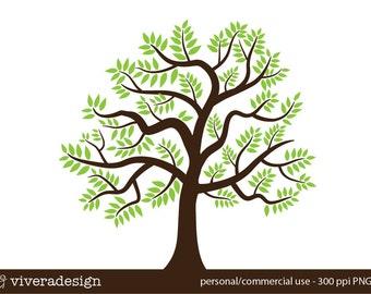 Tree Digital Art - green leaves, brown trunk