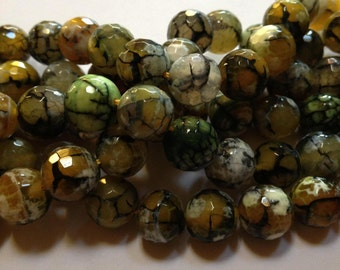 Lemon Grass - Green Faceted Agate Disco Beads - 12mm - 10 beads