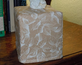Ready To Ship - White Print Rose Leaves onTan  Fabric - Tissue Box Cover