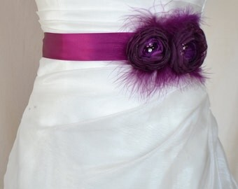 Handcrafted Aubergine Plum Two Flowwrs with Feathers Wedding Dress Sash Belt