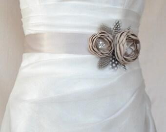 Handcrafted Fabric Champagne, Khaki, Taupe Color Wedding dress Sash Belt