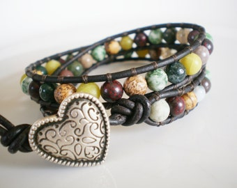 Leather Wrap Bracelet Heart of the Desert
