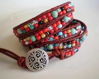 Southwestern Boho Bracelet Leather Wrap Bracelet Red and Turquoise 5-Wrap