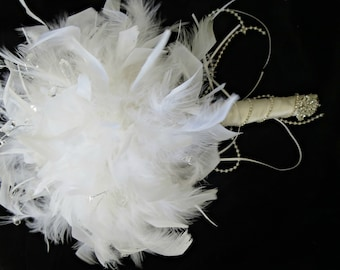 Alternative Anniversary feather brooch bouquet. Bridal, Bridesmaids, recital,Birthday, rehearsal. Prom bouquet