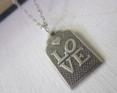 Love Necklace - Antiqued Silver Love Tag Pendant Necklace Silver Chain
