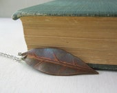 Vintage Leaf Necklace - Coppery Patina Brass Leaf Pendant Necklace Silver Chain