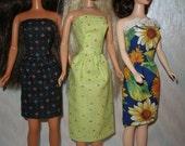 "Handmade 11.5"" fashion doll clothes - set of 3 strapless dresses"