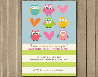 Owl First Birthday Invitation, Printable, DIY, Owl party, 1st Birthday