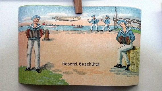 BULK DISCOUNT: c. 1910 Antique Label From Germany Tin Toy Zeppelin Unused Box label. Sailors singing & dancing.