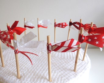 Cupcake toppers  Pack of 12 pretty ribbon Christmas holiday cake flags - Scandinavian Red & White READY TO SHIP