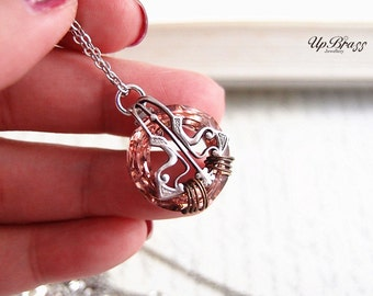 Nymphs No.4 --- Swarovski rose peach cosmic ring ,aged sterling silver brass, wire wrapped victorian necklace