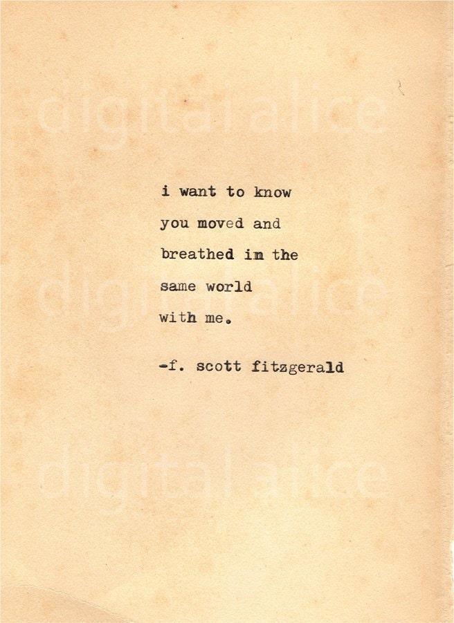 Vintage Typewriter Print F Scott Fitzgerald Quote By