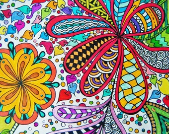 Adult Coloring Sheet, Digital Download, Coloring Activity Sheet Printable, Zentangle Coloring, Zendoodle - Instant Download, Coloring Page D