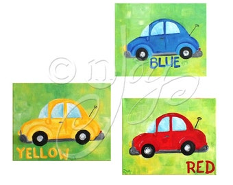 Childrens Wall Art PRINTS, Transportation Art, COLORFUL CARS,/ Boys Nursery Art / red blue yellow