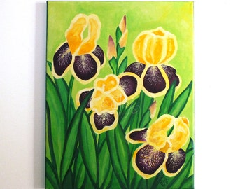 IRISES,11x14 Acrylic Canvas Painting, Floral Art for Home or Office