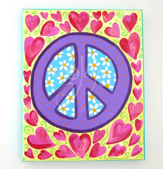 Childrens Art, PEACE and HEARTS, 8x10 Canvas Art for Girls Room