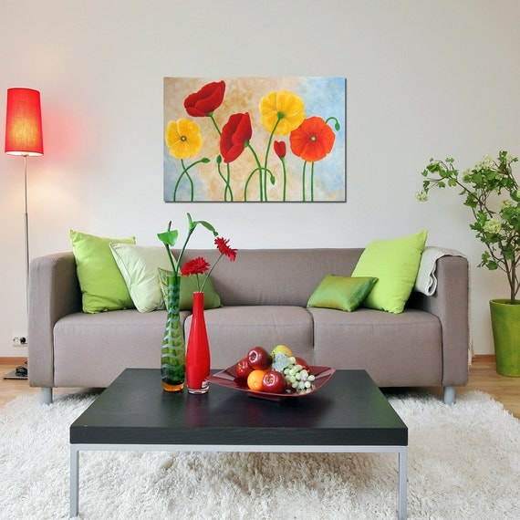 Poppy painting, Large Wall Art for Home and Office, 36x24 inch Acrylic Canvas