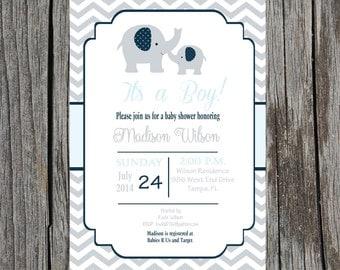 Elephant Baby Shower Invitation- Elephant Baby Shower - Girl or Boy - Printable file - customization included.