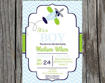 Printed Airplane Baby Shower Invitation, planes, airplane baby boy shower