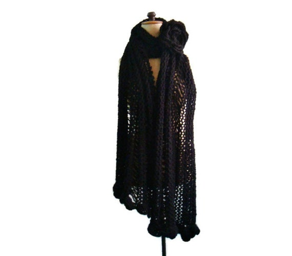 Black Knit Scarf, Oversized Chunky Shawl with Large Flower Pin Brooch