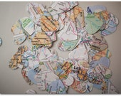 500 Paper Map Hearts - Table Scatter - 1 inch hearts - Ready to Ship