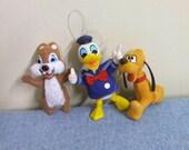 Disney Ornaments Flocked - Pluto Chip Donald Duck - Hong Kong