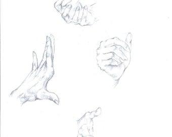 Drawing of hands in pencil, original signed art