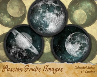 Stars and Planets Digital Collage Sheet- Celestial Outer Space 1 inch Bottlecap Rounds