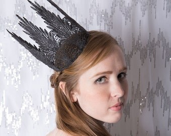 "Gothic Queen Black Fairy Tale Lace Crown- ""Gothic Queen Tall"" -  halloween costume, royal, macabre"